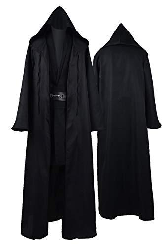 Rongxu Mens Jedi Robe Cosplay Costume Adult Tunic Hooded Robe Outfit Full Set Halloween Tunic Costume US Size (Medium, Black (Full Set))