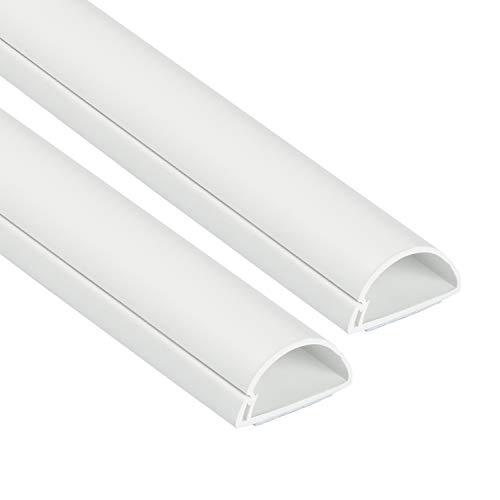 Mini Canal Portacables de 2 Metros de D-Line | Cubierta de Cable Autoadhesiva Decorativa | Popular Solución de Gestión de Cables | 30 mm (Anch.) x 15 mm (Alt.) – 2 Piezas de 1 Metro – Blanco