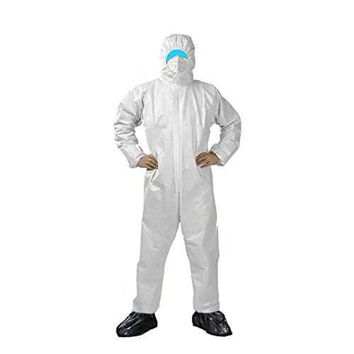 OUBO Medizinische Overall weiß Schutzanzug mit Kapuze Größe XL EN 14126 Kategorie 3 (Kat. III) Typ 5 (Type 5 5B) Typ 6 (Type 6 6B) antistatischer Schutzkleidung Infektionsschutz Coverall 5 B