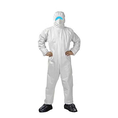 1x Medizinische Overall weiß Schutzanzug mit Kapuze Größe L EN 14126 Kategorie 3 (Kat. III) Typ 5 (Type 5 5B) Typ 6 (Type 6 6-B) antistatischer Schutzkleidung Infektionsschutz Coverall 5 B