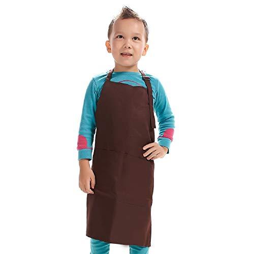H.BETTER - Delantal para niños, correa ajustable con 2 bolsillos para pintar, manualidades, color café