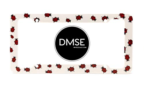 DMSE Plastic License Plate Frame Cover Holder Cool Decorative Design For Any Vehicle Car or Truck (Lady Bug)