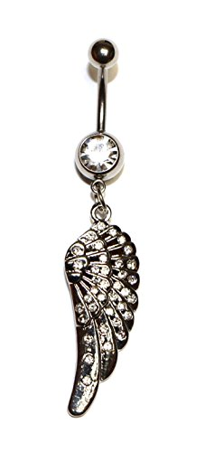 Hypoallergenic Surgical Steel Rhodium Plated Long Wing Belly Ring With Clear Cubic Zirconia Stones