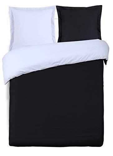 Vision - Funda nórdica Reversible, algodón, Negro/Blanco, 260 x 240 cm