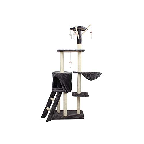 XHPWW Cat Tree Cat House Cat Condo Cinco Capas Cat Climbing Frame Cat House Hamaca Una Plataforma Escalera de Salto Peluche Juguete Sisal de Madera Cat Tree Tower-A
