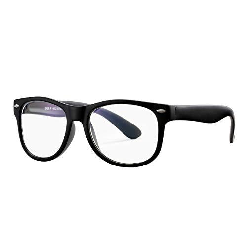 COASION Blue Light Blocking Glasses for Kids Boys Girls Digital TV Gaming Eyeglasses Frames for Children Age 3-12 (Matte Black)