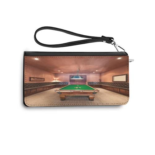 Portefeuilles pour Femmes,Style de Vie de Billard de Table de Billard de manoir,Porte-Cartes de crédit en Cuir véritable avec Porte-Monnaie de Bracelet de capacité de Blocage RFID