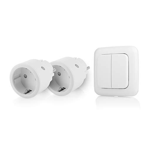 Smartwares SH4-99575 Indoor-Steckdosenschalterset mit Doppellichtschalter – Plug & Connect, 2 Smarte Steckdosen, Drahtloser Doppelter Lichtschalter