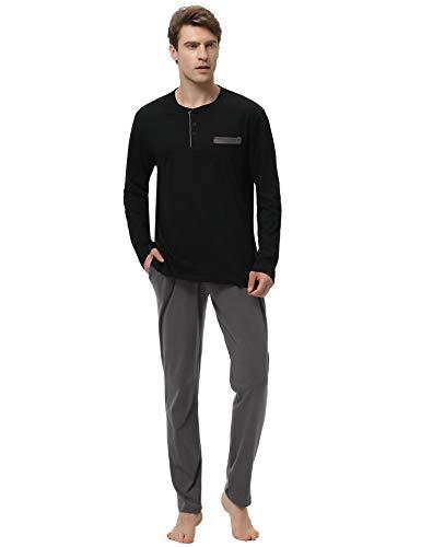 Aibrou Herren Nachtwäsche Baumwolle Langer Schlafanzug Pyjama Set Langarm Hausanzug für Winter Zweiteilig Schwarz S