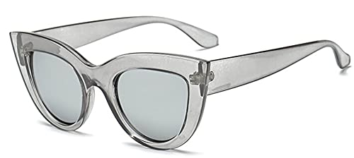 KTZAJO Gafas de sol de ojo de gato para mujer, color negro mate, gafas de sol para gafas UV400 (lentes color: gris claro v plata)