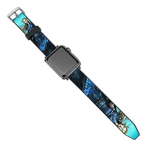 World of Warcraft - Correa de repuesto para Apple Watch (38 mm, 40 mm, serie 5, 4, 3, 2 1 y SE, para mujer y hombre, con hebilla de acero inoxidable, correa de repuesto para iWatch