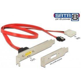 DELOCK Slotblech SATA 7Pin-Bu + 2-Pin-Molex-Stromst. -> 8Pin extern