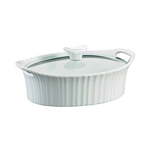 Corningware French White III Oval Casserole with Glass Cover, 1.5-Quart