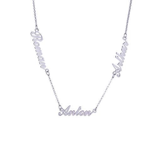 Persönalisierte Silber Halskette Personalisierte 925 Sterling Silber Familienschild Namenskette mit 3 Namen 14-24 Zoll Kette (Silber 18)