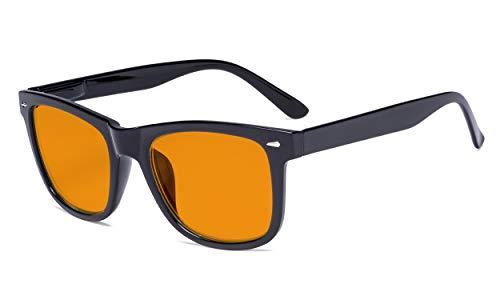 Eyekepper Gafas de bloqueo azul de marco grande - Lectores antideslumbrantes digitales con naranja tintado reducir filtro lente protección UV computadora gafas de lectura mujeres - negro +2.25