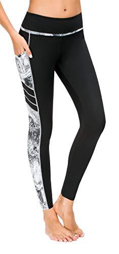 Flatik Damen Netzoberfläche Sport Gym Yoga Laufen Fitness Leggings Hose, Silber Grau(x1173-68), M