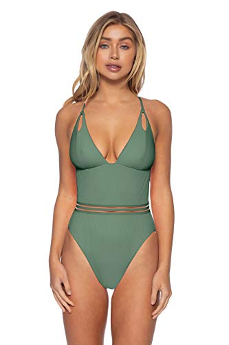 ISABELLA ROSE Women's High Leg Plunge One Piece Maillot Swimsuit Succulent L