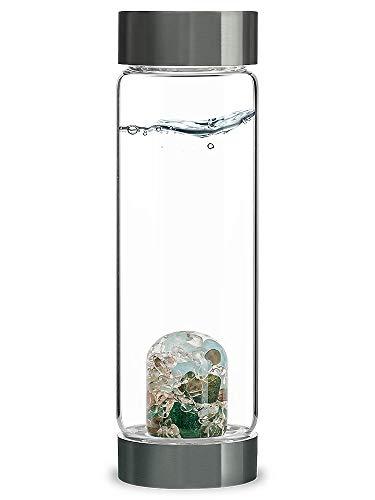 VitaJuwel ViA FOREVER YOUNG - Wasserflasche mit Aquamarin, Aventurin, Rauchquarz & Bergkristall für Detox und Gelassenheit