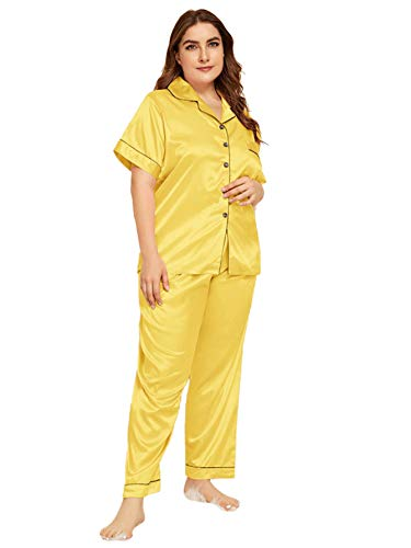 Milumia Women's Sleepwear Plus Button Casual Nightwear Top Pajamas Set Loungewear Set Yellow