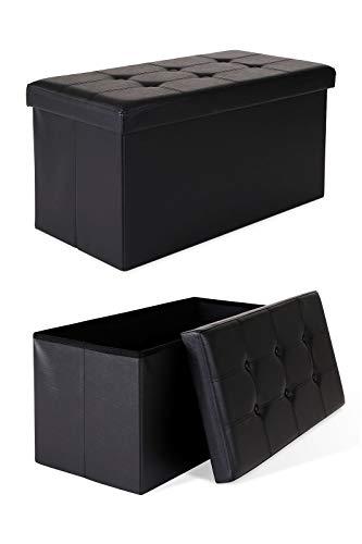 dibea Tabouret pliable en similicuir banc coffre de rangement 76x38x38 cm couleurs différentes