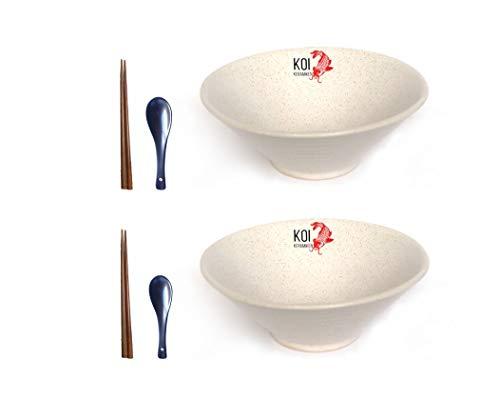 Koi Keramiken Ramen Schüssel Bowl Asiatisch, Keramik, Japanisches Geschirr Set mit 2 Schalen, Löffel und Essstäbchen, 1 Liter groß, Geeignet für die Mikrowelle, Nudeln, Pho, Reis, Schale