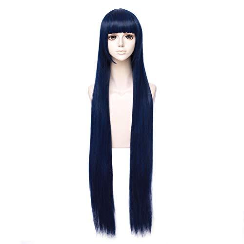 COSPLAZA Cosplay Kostueme Perücke lang gerade Blau Halloween Party Haar mit Perueckennetz