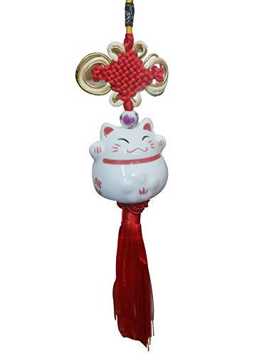 SUKRAGRAHA Lucky Cute Ceramic Japanese Maneki Neko Cat Hanging Pendant Car Interior Home Decoration Accessories