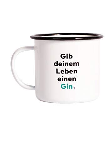 Flaschenpost Gin Vintage Emaille Tasse - Camping Becher Für Abenteuer (Für Reisen Mit dem VW Bulli, Zelten & Wandern) Optimales Camping Geschirr