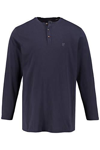 JP 1880 Herren große Größen bis 8XL, Langarm-Shirt, Henley, Knopfleiste, Rundhalsausschnitt, Navy 3XL 702555 76-3XL