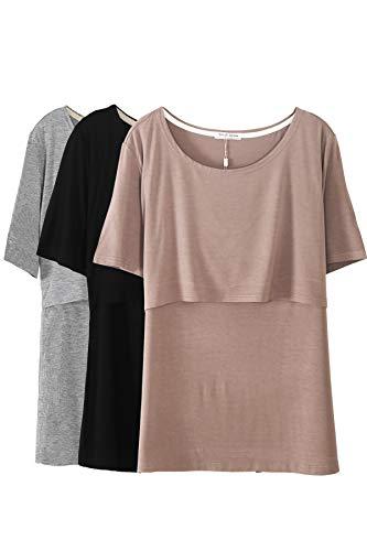Smallshow Hauts d'allaitement pour Femmes, Chemises d'allaitement à Manches Courtes et à Superpositions,Brown/Black/Grey,M