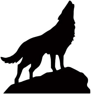 Amazon 狼 おおかみ オオカミ Wolf ウルフ 遠吠え 動物 ロック 岩 シルエット マーク ステッカー シール デカール ブラック シール ステッカー おもちゃ