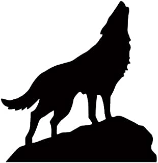 狼 おおかみ オオカミ WOLF ウルフ 遠吠え 動物 ロック 岩 シルエット マーク ステッカー シール デカール (ブラック)