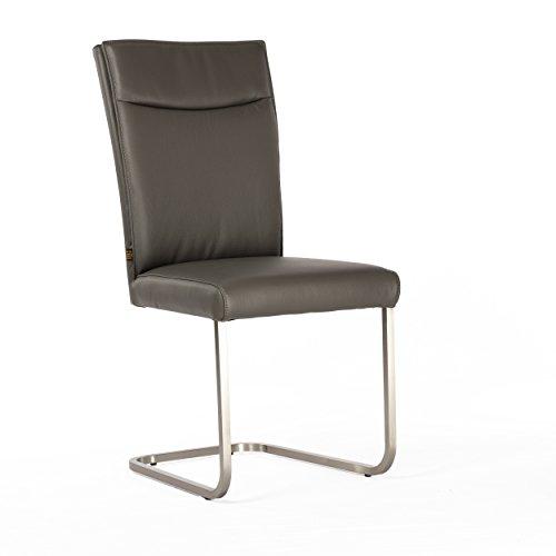Lederstuhl Freischwinger Rindsleder Grau Edelstahl gebürstet Stuhl Stühle