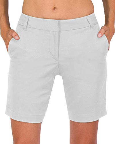 Three Sixty Six Womens Bermuda Golf Shorts - Quick Dry Active Shorts with Pockets, Athletic and Breathable - 8 ½ Inch Inseam Silver Grey
