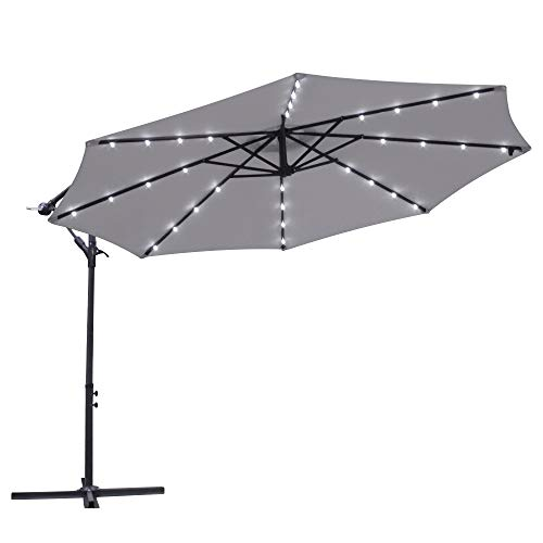Greenbay Garden Banana Parasol Solar LED Lights 3m Sun Shade Shelter Crank...