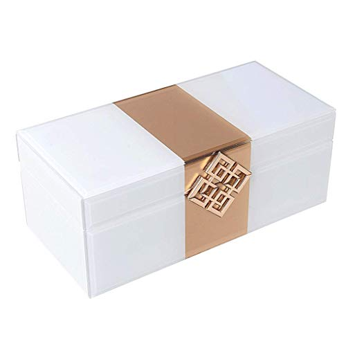 CMXUHUI Schmuckschatulle Geburtstagsgeschenk Schmuckschatu Caja de joyería Luz Moderna Lujo Adornos Decorativos Placa de Vidrio Caja de Joyería Collar Reloj Caja de Almacenamiento Caja de Joyería