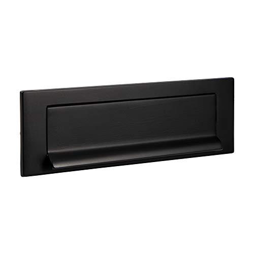 Gedotec krantenklep messing zwart mat postgleuf 5005 briefinworp-klep antiek voor huisdeuren & huisdeuren | deur inwerpklep gemaakt van echt messing | 257 x 74 mm | 1 stuk - deurinworp