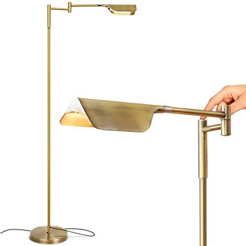 Brightech Leaf - Adjustable Pharmacy LED Floor Lamp for Reading, Crafts & Precise Tasks - Standing Bright Light for Living Room, Sewing - Great Lighting for Office Desks & Tables -Antique Brass/Gold
