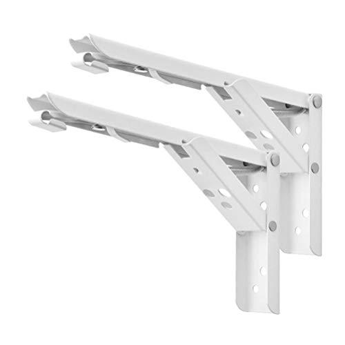 2 PC Soportes de plataforma plegables, trípode Triángulo montado en la pared Estantes plegados de paréntesis Pesado Dutor Metal Cantilever Soportes Reservar Soporte de soporte Hardware