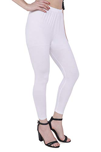TRASA Ultra Soft Cotton Ankle Solid Regular and Plus 15 Colours Ankle Leggings for Womens and Girls - Size - XXX-Large - White