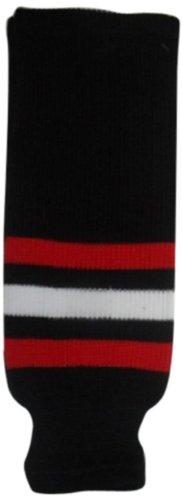 DoGree Hockey Chicago Blackhawks gestrickte Hockey-Socken, Schwarz/Rot/Weiß, Junior/61 cm