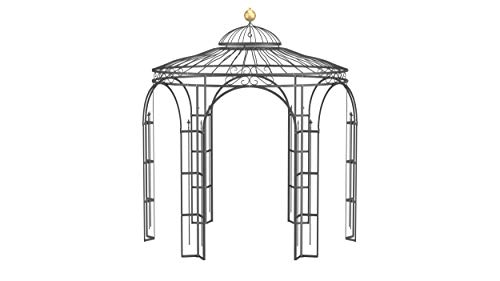 ELEO Milano wunderschöner Gartenpavillon Winterfest I Stabiler Rundpavillon Anthrazit Ø 2,9 m I Stabiler Rosenpavillon aus Schmiedeeisen mit Messingkugel I Pavillon für Garten
