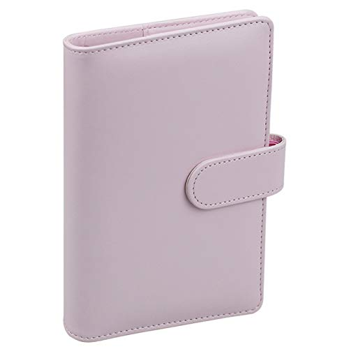 A6 PU Leather Notebook Binder,Refillable 6 Round Ring Binder Cover for A6 Filler Paper,Macaron Notebook Personal Planner Binder with Magnetic Buckle,Pink