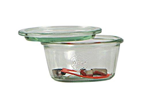 Weck Vasetto 290 ml con Coperchio da 100 mm, Completi di Guarnizione e Clips, Scatola da 6 Pezzi, Vetro, Trasparente