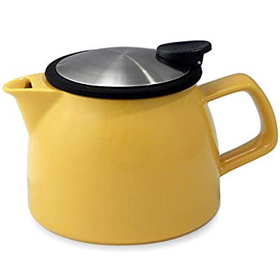 FORLIFE Bell Ceramic Teapot with Basket Infuser, 16-Ounce/470ml, Mandarin