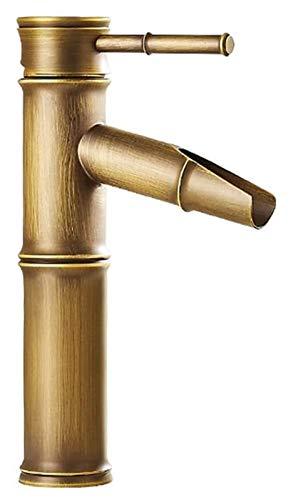 Cascada Baño Lavabo Grifo Mezclador Monobloque de Latón Estilo de Bambú como Caliente y Fría Grifo (Tamaño : Short)