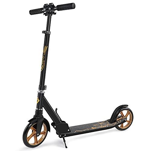 BELEEV Roller Erwachsene, Tretroller Kick Scooter mit 2 Rädern, Cityroller mit Federung, Schnellverschluss Klappbar System, 4 Höhenverstellbare, 200mm Große Räder Roller für Kinder Jugendliche (Gold)
