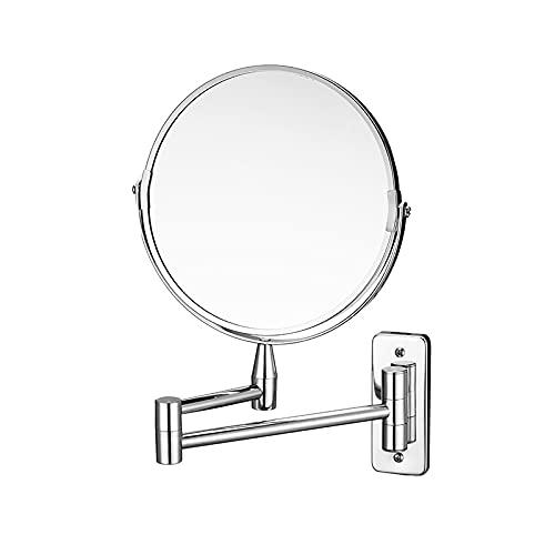 QAZW Espejo de Maquillaje Espejo de Maquillaje, Espejo de Afeitar de Doble Cara con Rotación de 360 ° Sin Perforaciones de 8 Pulgadas Espejo de Baño de Afeitado Extensible,Silver-7in-X5