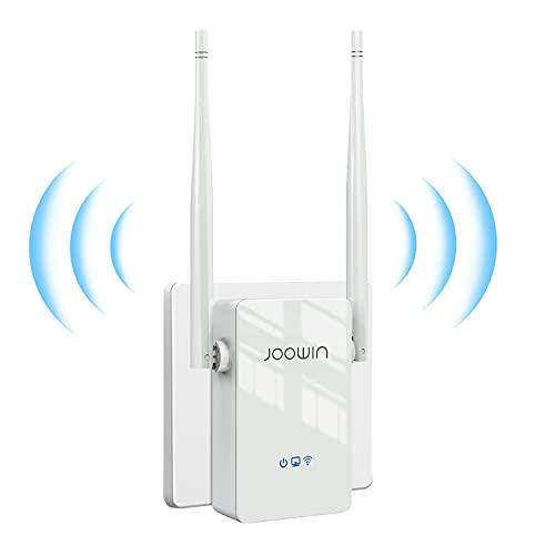 JOOWIN Repetidor WiFi, Amplificador WiFi 300Mbps 2,4 GHz Repetidor WiFi Largo Alcance Extensor de WiFi Señal para Casa con Modos Repetidor/Enrutador/Ap, Puerto Ethernet, 2 Antenas Externas, WPS