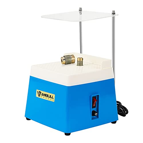 """ANBULL Portable Stained Glass Grinder Machine, Mini Glass Grinder with 5/8"""" + 1"""" Replaceable Grinder Bits & Acrylic Bezel, Compact Glass Art Grinding Tool for Stain Glass Class (BLUE 110 V, 65 W)"""